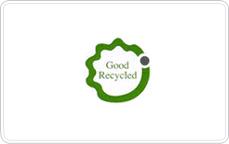 GR 인증 마크. 녹색 외곽선의 이파리 모양 안에 Good Recycled 가 흰 배경 녹색 글씨로 적혀 있다. 외곽선에는 회색으로 채워진 작은 원이 하나 위치해 있다.